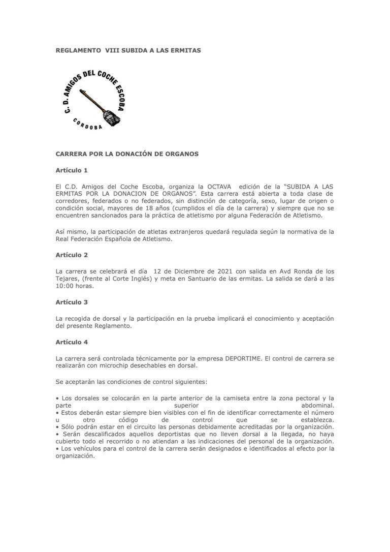 Reglamento Subida Ermitas 2021 - 1